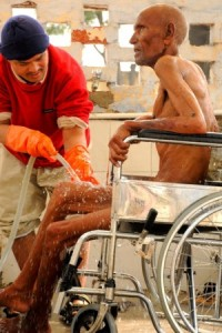 """The staffers at Sewa Ashram embody the call of Christ – """"washing one another's feet"""" (and arms and legs) on a daily basis."""